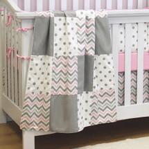 CHEVRON PINK Patchwork Baby Crib Blanket