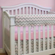 CHEVRON PINK Baby Crib Rail Protector
