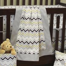 CHEVRON GREY Crib Blanket with Border