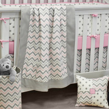 CHEVRON PINK Baby Crib Blanket with Border