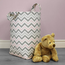 CHEVRON PINK Clothes or Toy Nursery Hamper