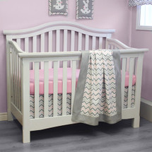 CHEVRON PINK 3 PC Set Crib Bedding - Bumperless