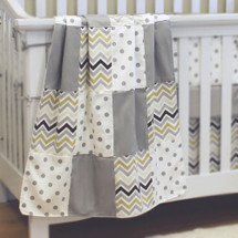 CHEVRON GREY Patchwork Baby Crib Blanket