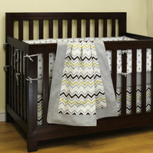 CHEVRON GREY 4 PC Set Crib Bedding