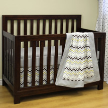 CHEVRON GREY 3 PC Set Crib Bedding - Bumperless