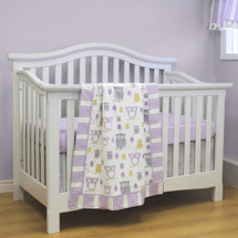 HOOTY LILAC 3 PC Set Crib Bedding - Bumperless