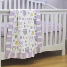 HOOTY LILAC Baby Crib Blanket