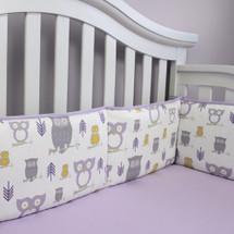 HOOTY LILAC Baby Crib Bumper Pads