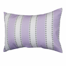 HOOTY LILAC Dotty-Stripe Lumbar Nursery Pillow