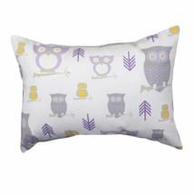 HOOTY LILAC Owl Lumbar Nursery Pillow