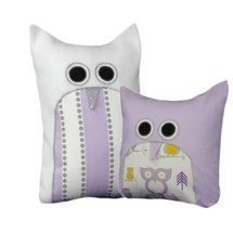 HOOTY LILAC Novelty Owl Nursery Pillow