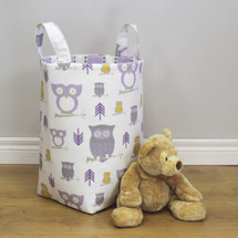 HOOTY LILAC Clothes or Toy Nursery Hamper