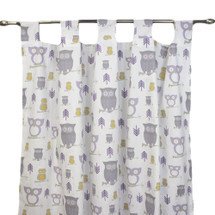 HOOTY LILAC Long Nursery Drapes (Set of 2)