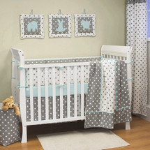 MOXY AQUA 4 PC Set Crib Bedding