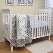 MOXY BLUE 3 PC Set Crib Bedding - Bumperless