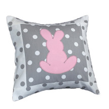 MOXY PINK Bunny Applique Nursery Pillow