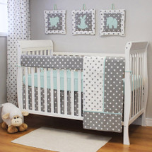 MOXY AQUA 4 PC Set Crib Bedding - Includes Crib Rail Protector