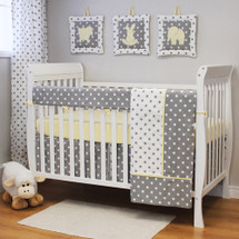 MOXY LEMON 4 PC Set Crib Bedding - Includes Crib Rail Protector