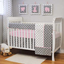 MOXY PINK 4 PC Set Crib Bedding - Includes Crib Rail Protector