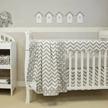 SIMPLY GREY 4 PC Set Crib Bedding - includes Crib Rail Protector