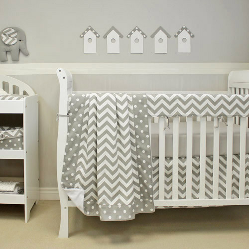Simply grey 4 pc set crib bedding includes crib rail protector sweet kyla - Deco babybed ...