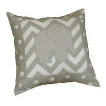 SIMPLY GREY Elephant Applique Nursery Pillow
