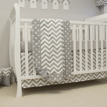 SIMPLY GREY (PREMIUM) 3 Pc Bumperless Crib Bedding