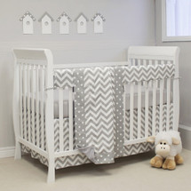 "SIMPLY GREY ""Premium"" 4 PC Set Crib Bedding - includes Crib Rail Protector"