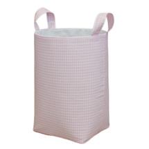 Pink all-fabric clothes hamper