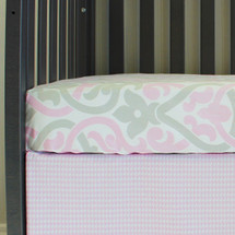 PINK SCROLL Fitted Crib Sheet