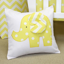 Yellow Dot appliqued elephant pillow