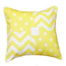Patchwork pillow in yellow dots and chevron