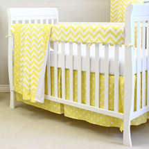 Yellow Dot and Chevron Crib set with rail protector