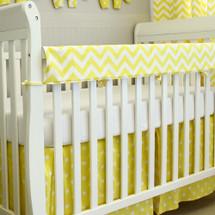Padded crib rail protector in Yellow Chevron