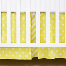 "17"" Yellow Dot pleated crib dust ruffle"