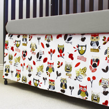Papaya owl crib dust ruffle