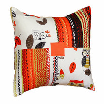 Patch pillow with owls and stripe in papaya and grey