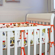 Owl crib bumper in papaya and grey