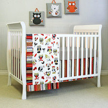 baby owl bumperless crib set