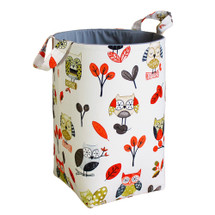Papaya and grey owl fabric hamper
