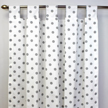GREY DOTS ON WHITE Long Nursery Drapes - Tab or Rod Top (Set of 2)