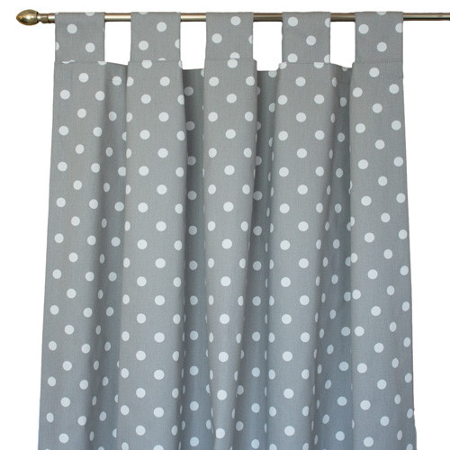 White and grey polka dot long drapes