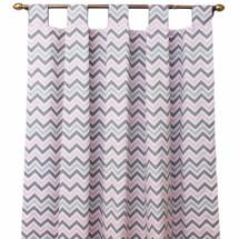 Pink and grey chevron drapes