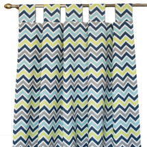 Navy, lime, and grey chevron drapes
