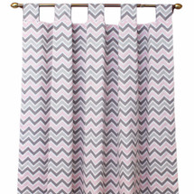 Pink and grey chevron drapes