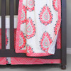 Coral damask baby blanket with minky dot backing