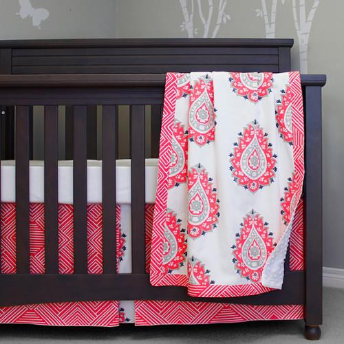 Coral baby bedding no bumper pad