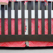 "Coral crib bedskirt 17"" long"
