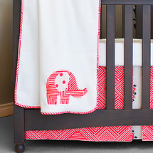 Coral elephant baby blanket