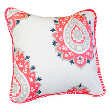 Coral damask toss pillow